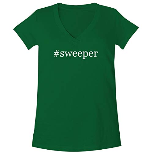 The Town Butler #Sweeper - A Soft & Comfortable Women's V-Neck T-Shirt, Green, Small