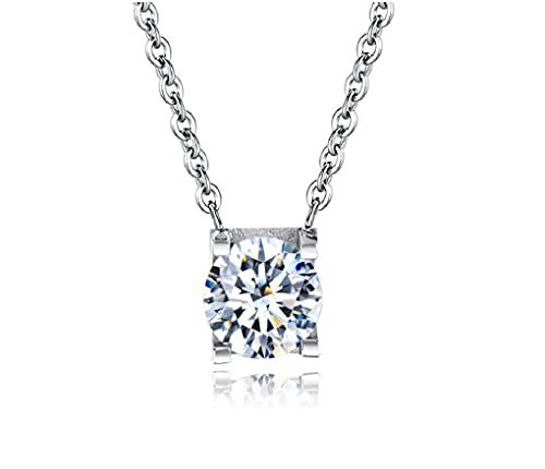 Ohana - Collar de mujer con punto de luz de acero inoxidable con circonita redonda, Acero inoxidable,