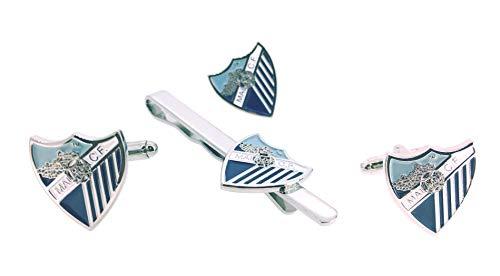 Gemelolandia | Pack Gemelos para Camisa - Pin de Solapa y Pasador de Corbata Málaga Club de Fútbol Gemelos Originales Para Camisas | Para Hombres y Niños | Regalos Para Bodas y Comuniones