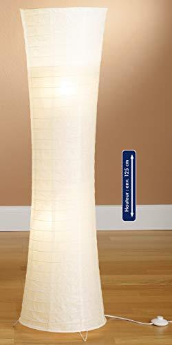 Trango 1229L Design LED Reispapier Stehlampe *SWISS* Reispapierlampe *HANDMADE* Stehleuchte mit weißem Lampenschirm inkl. 2x E14 LED Leuchtmittel, Form: Rund, Höhe: 125cm, Wohnraumlampe, Standlampe