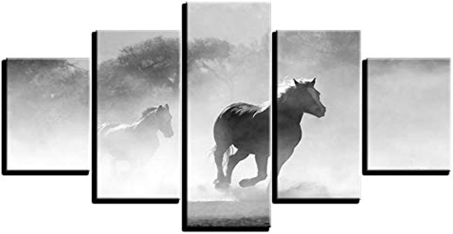 LONLLHB Painting Frame Modern Home Decor Wall Art 5Pcs Psychedelic Smoke Horse Racing Picture Hd Printed Poster Painting Canvas Modular