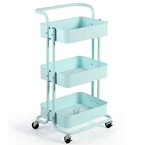 Giantex 3-Tier Rolling Cart, Metal Utility Cart, Kitchen Trolley Serving Cart with Top Handle, Lockable Casters and 3 Mesh Storage Baskets, Mobile Organizer Cart for Home and Office (Mint Green)