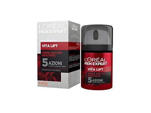 L'Oréal Paris Men Expert Crema Viso Uomo VitaLift5, Azione Anti-Rughe VitaLift5 per Combattere i Segni dell'Età, per Uomo, 50 ml, Confezione da 1