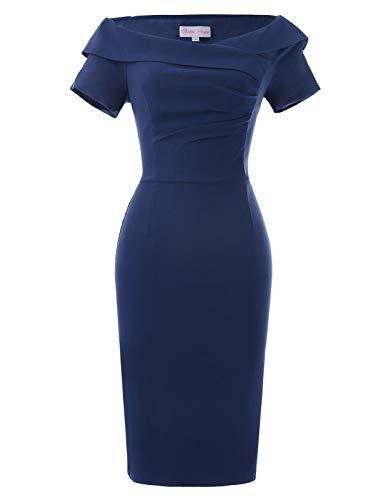 Belle Poque 1950er Jahre Vintage Retro bleistiftkleid Navyblau etuikleid Stretch Kleid Größe 32 BP158-3