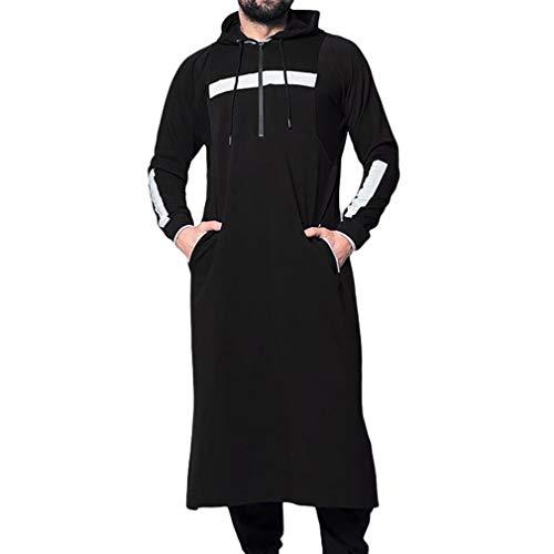 Herren Bedrucktes Sweatshirt Lange Ärmel Slim Fit Pullover mit Kapuze Länge Kaftan Mantel mit Tasche Nahen Osten Dubai Araber Outerwear Große Größen S-5XL