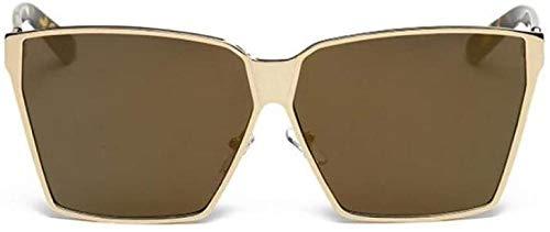ZYIZEE Gafas de Sol Gafas de Sol de Gran tamaño para Hombre Montura de Metal Sombras cuadradas para Mujer Gafas Negras Completas de Moda Gafas de Lujo a la Moda UV-Mirror_Gold