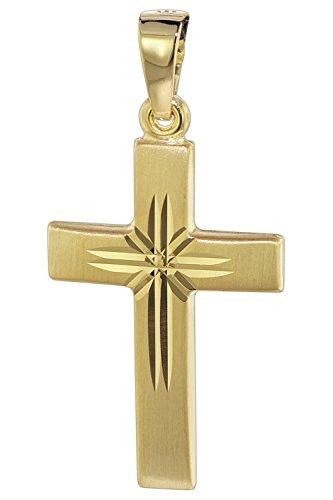 trendor Kreuz Anhänger 585 Gold 22 mm Damen Kettenanhänger aus Gold, modischer Kreuzanhänger, zeitlose Geschenkidee, zauberhafter Schmuck aus Echtgold 08615