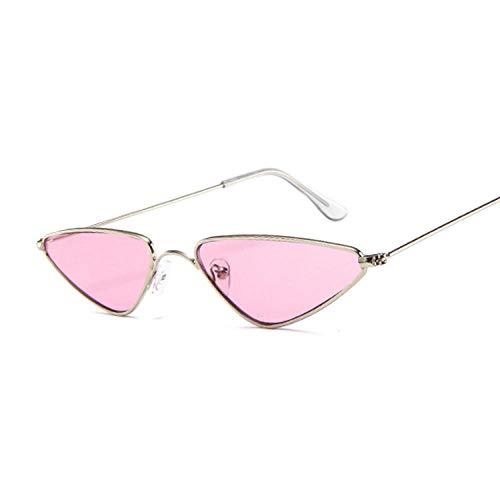 DLSM Metal Gato Ojo pequeño Marco Vintage Gafas de Sol de Mujer clásico Colorido Mercurio océano Moda Gafas de Sol adecuadas para Montar a Caballo-Silverpink
