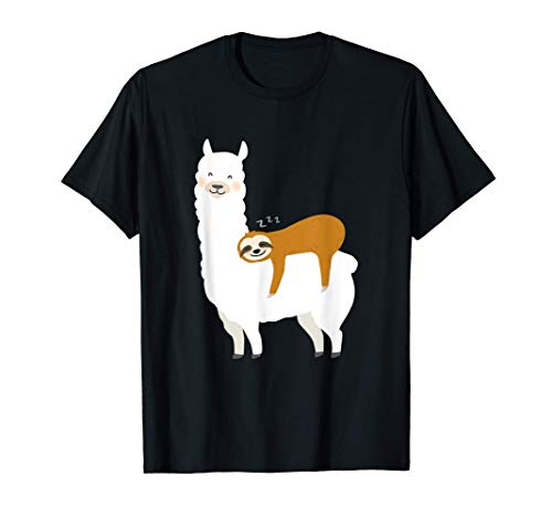Faultier schläft auf Alpaka Lama T shirt T-Shirt