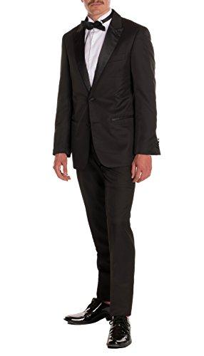 AOWOFS Men's Slim Fit 3 Piece Suit Formal Wedding One Button Blazer Tux Vest & Trousers (Black, X-Large)