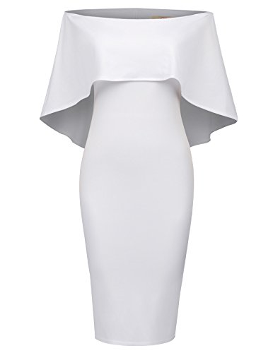 GRACE KARIN Women Ruffle Off Shoulder Cocktail Pencil Dress S White 1