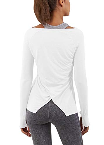 Bestisun Yoga Tops for Women Long Sleeve Workout Shirts for Women with Thumb Hole White M