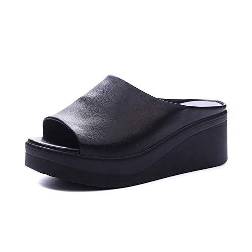 Top unisex-adulto de las chancletas, zapatillas boca de los pescados del cuero, sandalias-negro de las mujeres de la plataforma impermeable bolsa heel_38, ergonómico flip-flops sandalias del dedo del