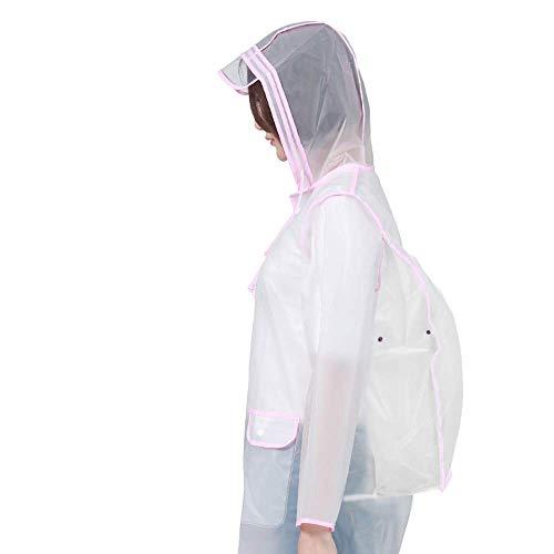 N/F Transparent Raincoat Edging Belt Backpack Female Korean Fashion Edging Version Tide Brand Raincoat Adult Hiking Student Body