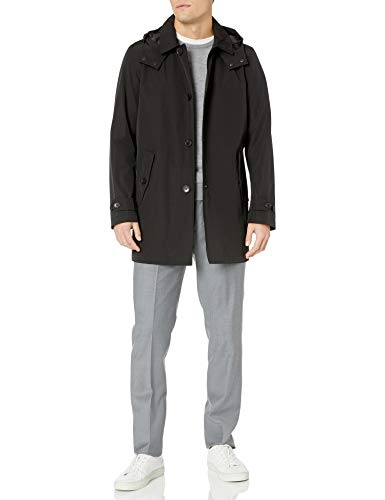 Tommy Hilfiger Men's Hooded Rain Trench Jacket, black, XL