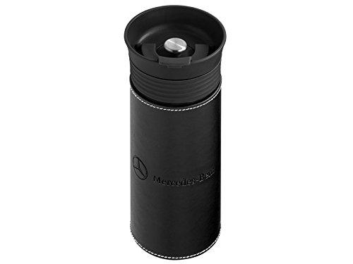 Mercedes-Benz Thermobecher schwarz, Glas/Leder