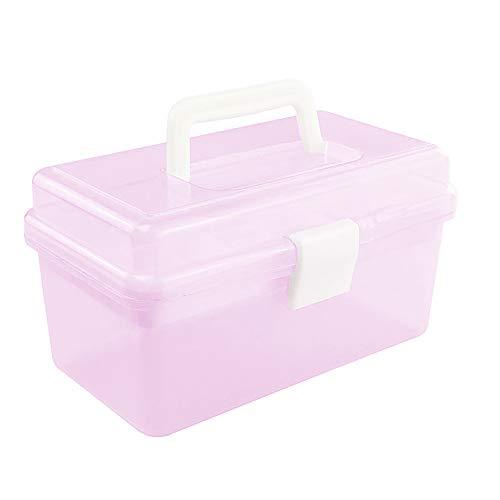 Anjing Craft Caddy Box Kunststoff Freischwinger Box 2 Ablagen Kunst und Basteln Box für Bleistifte Farben Pastellfarben Bastelzubehör Rose