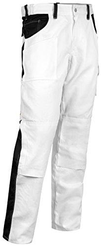 strongAnt Malerhose Stuckateur Putzer Arbeitshose mit Kniepolstertaschen - Made in EU - 100% BW 260gm - Weiß/Schwarz 50