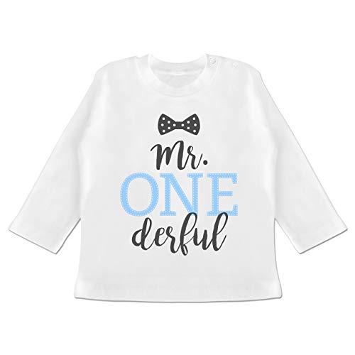 Geburtstag Baby - Mr. One Derful Schleife - 12/18 Monate - Weiß - BZ11 - Baby T-Shirt Langarm