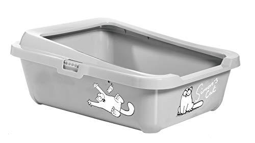 Karlie Simon's Cat Katzentoilette mit Rand, 43 cm x 32 cm x 16 cm, grau