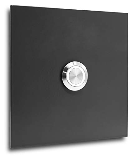 Jung Edelstahl Design Türklingel Bochum 007 anthrazit RAL 7016 pulverbeschichtet. Klingelschild mit LED Taster. Klingel V2a Edelstahl 10x10 cm ohne Gravur (weiß)