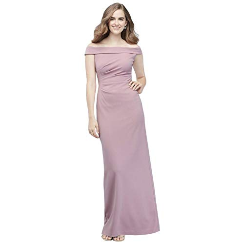 David's Bridal Off-The-Shoulder Stretch Crepe Ruched Bridesmaid Dress Style AP2E205054, Dusty Rose, 14
