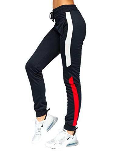 BOLF Mujer Pantalón Deportivo Pantalón de Chándal Largos Jogger de Algodón Pantalones Jogging Deporte Entrenamiento Fitness Outdoor Slim Fit Estilo Deportivo HW2051 Azul Oscuro S [F6F]