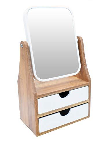 Make-UP Kosmetikspiegel Vergrößerungsspiegel Spiegel Bambus Badezimmerspiegel Schminkspiegel