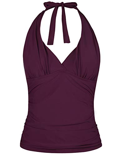 Hilor Women's Plunging V Neck Halter Swim Tops Shirred Tankini Top New Version Burgundy 12