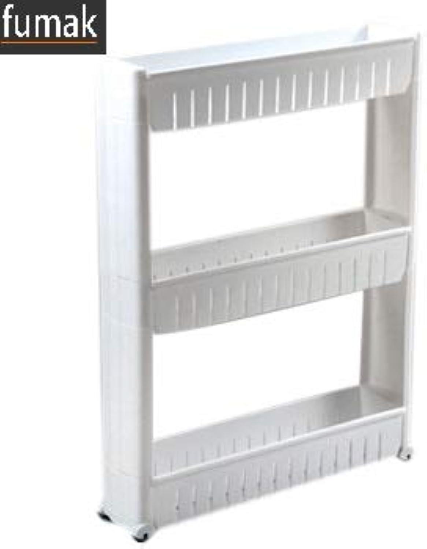 Bathroom Shelf - Multipurpose Shelf with Removable Wheels Crack Rack Bathroom Storage Storage Rack Shelf Multi-Layer Refrigerator Side Shelf (3 Layer White)