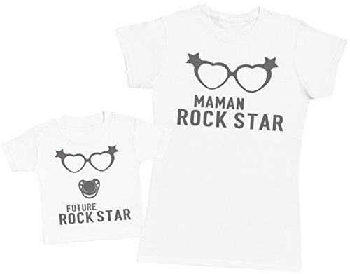 Future Rock Star Fille - Ensemble Mère Bébé Cadeau - Femme T Shirt & bébé T-Shirt - Blanc - S & 0-3 Mois