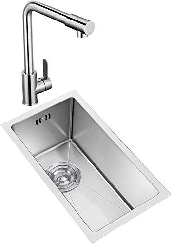 Exquisita cocina de acero inoxidable Flushmount pequeño fregadero, renovado rectangular fregadero fregadero Mini Hogar lavavajillas piscina pequeña fregadero con agua caliente y fría Toque solo vaso
