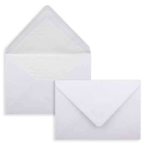 50x Brief-Umschläge C5 - Weiß - gefüttert mit weißem Seidenpapier - 100 g/m² - 22,9 x 16,2 cm - Nassklebung