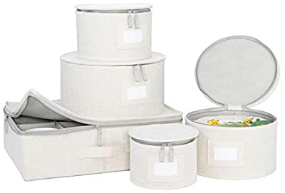 China Storage Set, for Dinnerware Storage and Transport, Protects Dishes, Cups and Mugs, Felt Plate Dividers Included (Cream) from