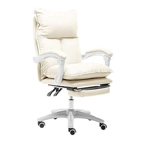 Stuhl Computerstuhl Großer E-Sport Stuhl mit Fußstütze Hohe Rückenlehne PU Leder Gaming Schreibtischstuhl Doppelkissen Höhe Verstellbarer ergonomischer Bürocomputerstuhl, Weiß