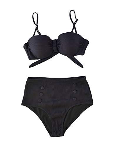 Marine - Conjunto de Bikini con Braga Alta, con Tejido Acanalado y Detalle de Botones (Negro, 46)