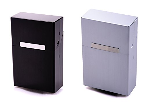 2 x Zigarettenetuis Zigarettenbox Doppelset aus Metall Silber + Schwarz Gratis 2 Pappschuber