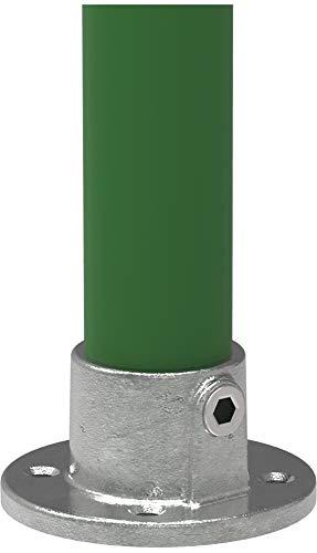 Fenau | Boden-Flansch, rund, Ø 26,9 mm, Wand-Flansch, Decken-Flansch, Stütze, Temperguss galvanisiert, feuerverzinkt, inkl. Schrauben