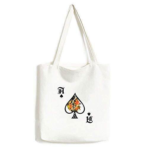 Bolsa de Mano con diseño de Hojas de Arce geométrico y Flores, para Manualidades, Pala de póquer, Bolsa Lavable