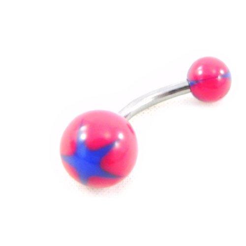 Les Trésors De Lily [E5550] - Body piercing kugel 'Tecno' rot blau.