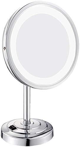 Espejo de maquillaje de 3 aumentos de acrílico para baño, maquillaje de belleza con luz LED personalizada, espejo de tocador de maquillaje con luces de acero inoxidable pulido de 8 pulgadas