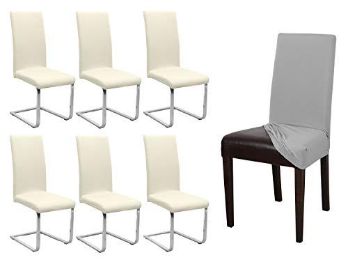 BEAUTEX 6er Set Jersey Stuhlhusse, elastische Stretch Husse Baumwolle Bi-Elastic, Farbe wählbar (Creme)