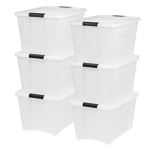 IRIS USA, Inc TB-56D 53 Quart Stack & Pull Box, Multi-purpose Storage Bin, 6 Pack, Pearl