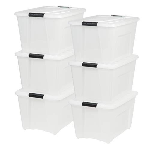 IRIS USA, Inc. TB-56D 53 Quart Stack & Pull Box, Multi-Purpose Storage Bin, 6 Pack, Pearl