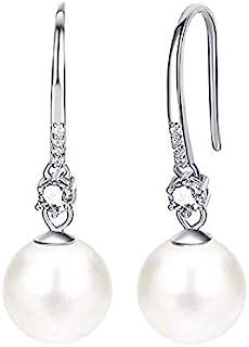 JORA Pearl Drop Earrings for Women 925 Sterling Silver Cubic Zirconia 10mm Simulated Pearl Dangle Earrings for Wedding Jew...