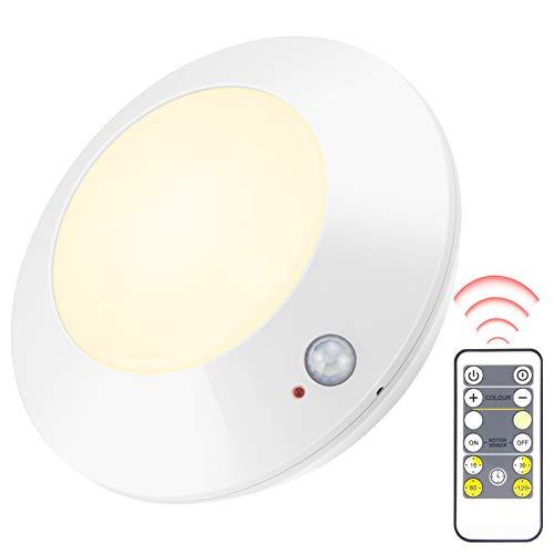 HONWELL Plafoniera con sensore di movimento wireless, luce LED con telecomando RF con luce bianca calda e bianca, illuminazione notturna 250LM per corridoi, cucine, camere da letto, armadi
