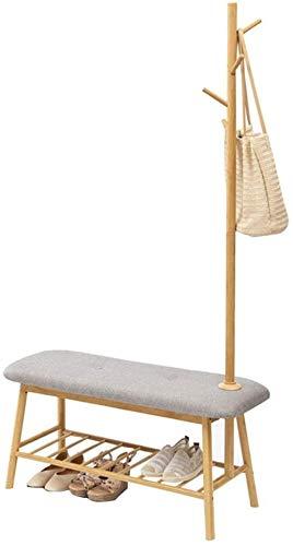 Banco de zapatos de bambú zapatero 5 Escudo Ganchos rack ba