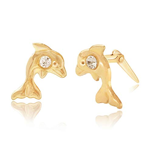 9ct yellow gold dolphin with crystal Andralok stud earrings/novelty gift box included