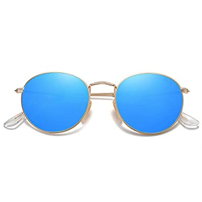 SOJOS Small Round Polarized Sunglasses Mirrored Lens Unisex Glasses SJ1014 3447 with Gold Frame/Blue Mirrored Polarized Lens