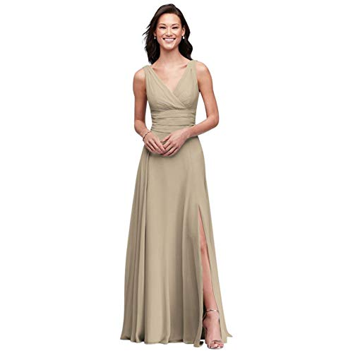 David's Bridal Surplice Tank Long Chiffon Bridesmaid Dress Style F19831, Champagne, 0
